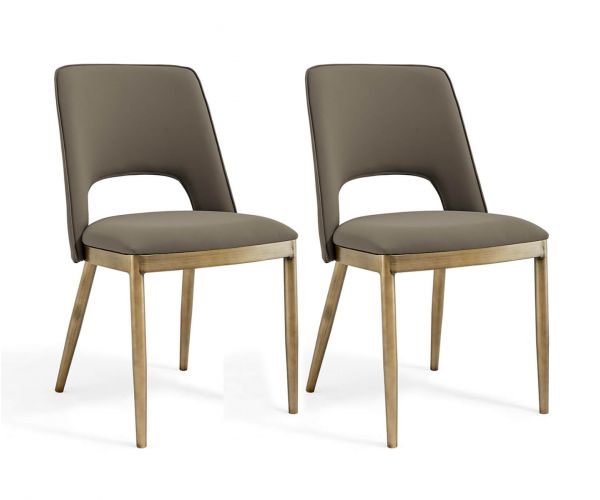 Derrys Furniture Morgan Taupe Faux Leather with Brass Dining Chair in Pair