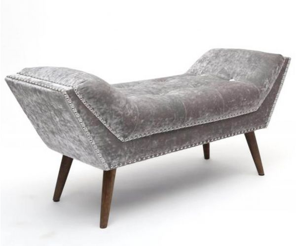 Shankar Mulberry Crushed Velvet Silver Chaise