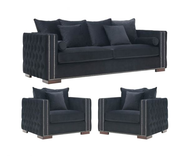 Derrys Furniture Moscow Black 3+1+1 Sofa Set
