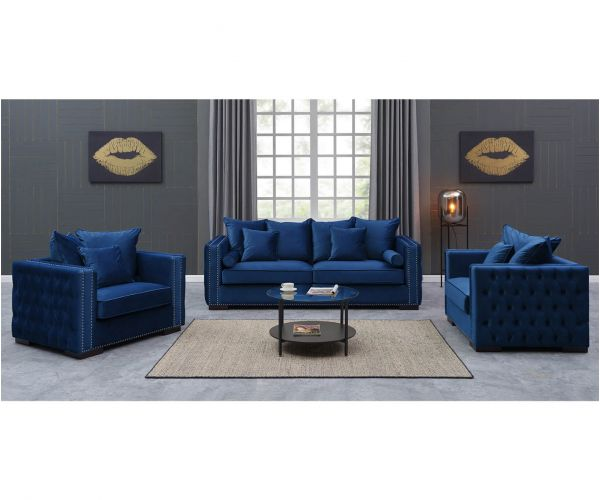 Derrys Furniture Moscow Royal Blue 3+1+1 Sofa Set