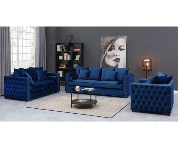 Derrys Furniture Moscow Royal Blue 3+2+1 Sofa Set