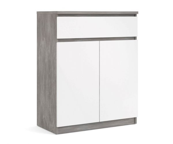 FTG Naia Concrete and White High Gloss 1 Drawer 2 Door Sideboard