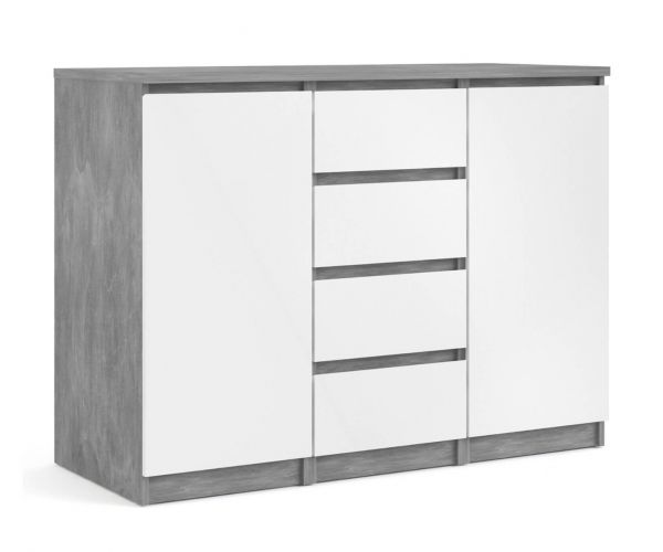 FTG Naia Concrete and White High Gloss 4 Drawer 2 Door Sideboard