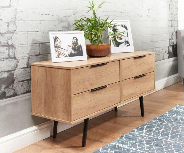 Welcome Furniture Hong Kong Nebraska Oak 4 Drawer Bed Box with Black Solid Wood Legs