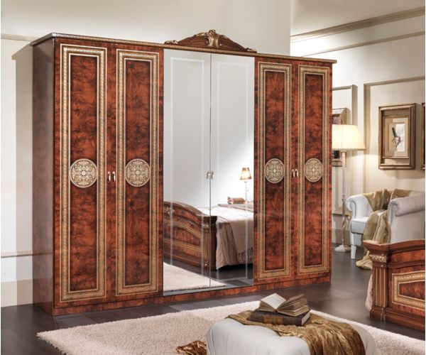 MCS New Alexandra Walnut Finish 6 Door Wardrobe