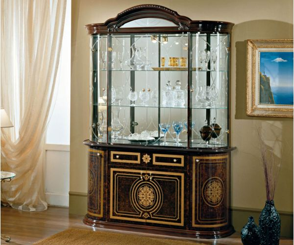 Dima Mobili Gina Mahogany 4 Door Display Cabinet
