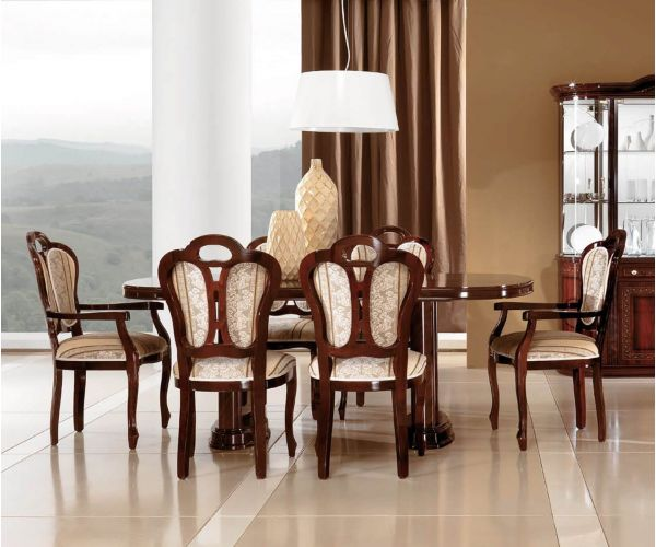 MCS Pamela Walnut Finish Oval Extension Dining Table with 6 Chairs