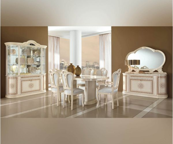 MCS Pamela Cream Finish Oval Extension Dining Table with 6 Chairs