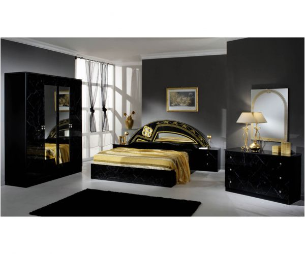 Dima Mobili Salwa Marble Black and Gold Bedroom Set with 6 Door Wardrobe