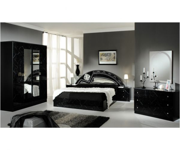 Dima Mobili Salwa Marble Black and Silver Bedroom Set with 6 Door Wardrobe