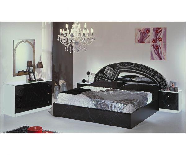 Dima Mobili Salwa Marble Black and White Bedroom Set with 6 Door Wardrobe