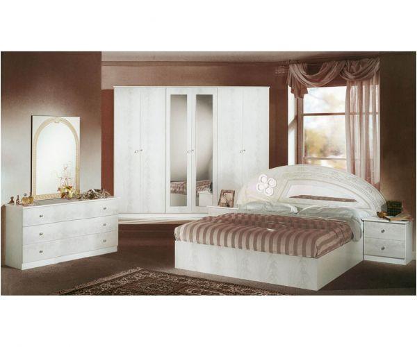 Dima Mobili Salwa White Bedroom Set with 4 Door Wardrobe