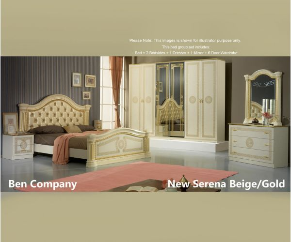 Ben Company New Serena Padded Beige and Gold Bed Group Set with 6 Door Wardrobe
