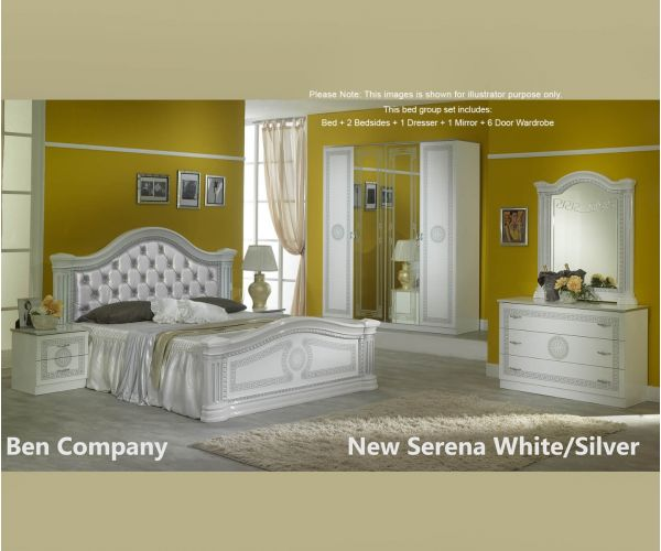 Ben Company New Serena Padded White and Silver Bed Group Set with 6 Door Wardrobe