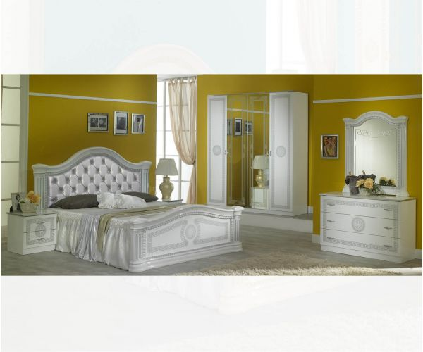 Ben Company New Serena Padded White and Silver Italian Bedroom Set