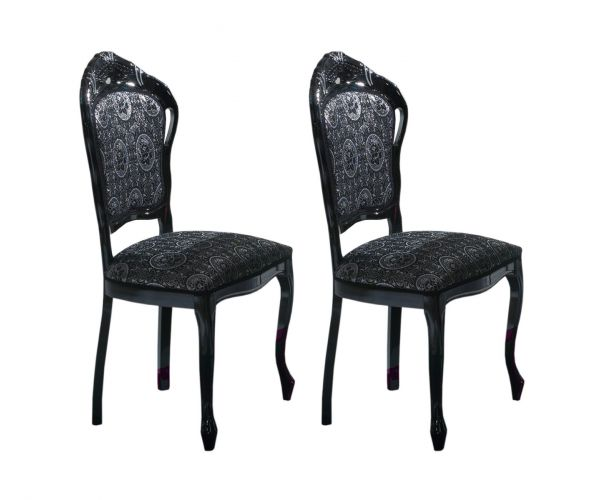 Ben Company New Venus Black Italian Dining Chair in Pair