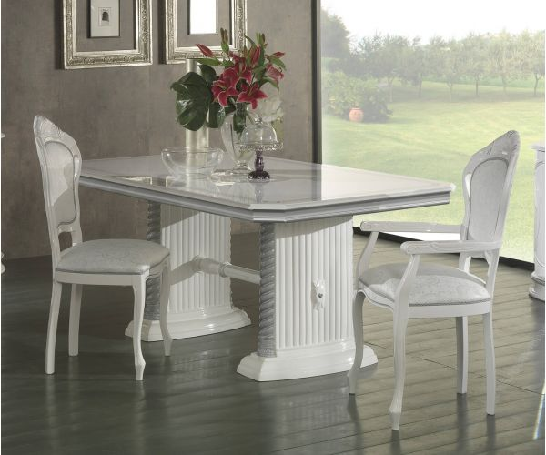Ben Company New Venus White and Silver Italian Extension Dining Table