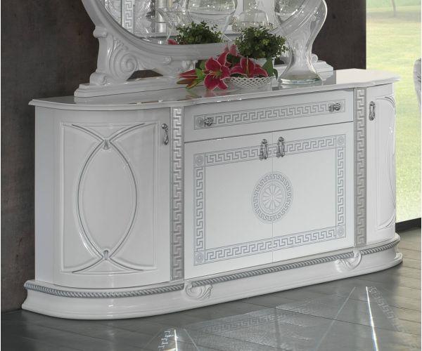 Ben Company New Venus White and Silver Italian 4 Door Buffet