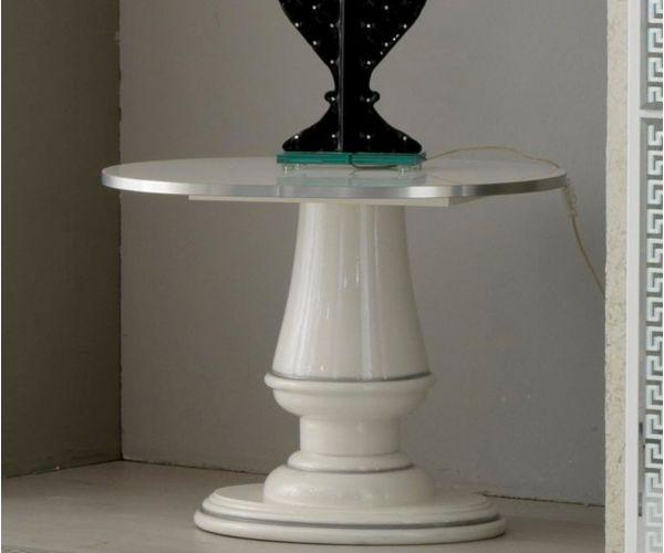 Ben Company New Venus White and Silver Italian Lamp Table