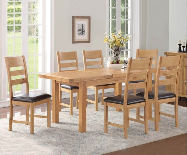 Annaghmore Newbridge 5x3 Extension Dining Table with 6 Chairs