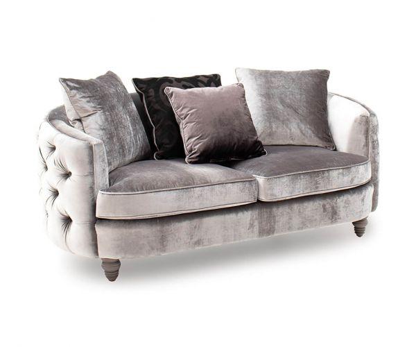 Vida Living Nicolette Pewter Velvet Fabric 2 Seater Sofa