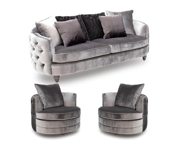 Vida Living Nicolette Pewter Velvet Fabric 3+1+1 Sofa Set