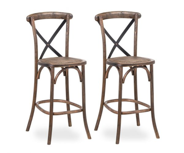 Oak Cross Back Bar Stool in Pair