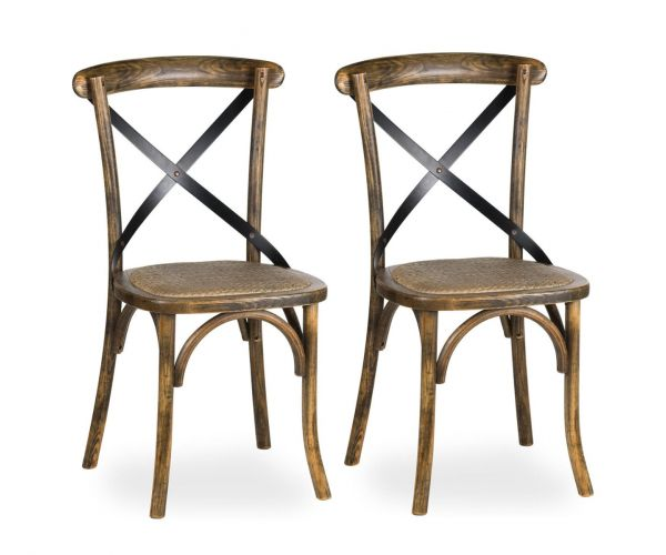 Oak Cross Back Dining Chair in Pair
