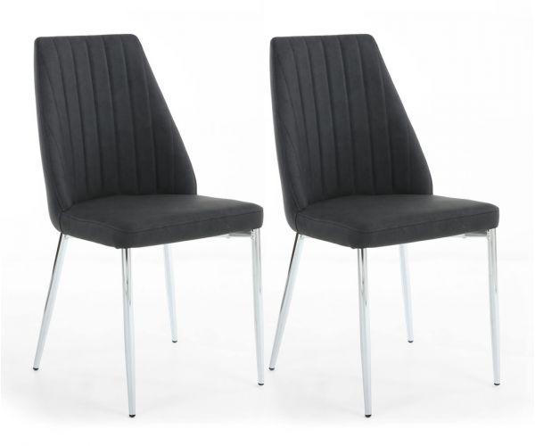 Shankar Odeon Grey Fabric Dining Chair in Pair