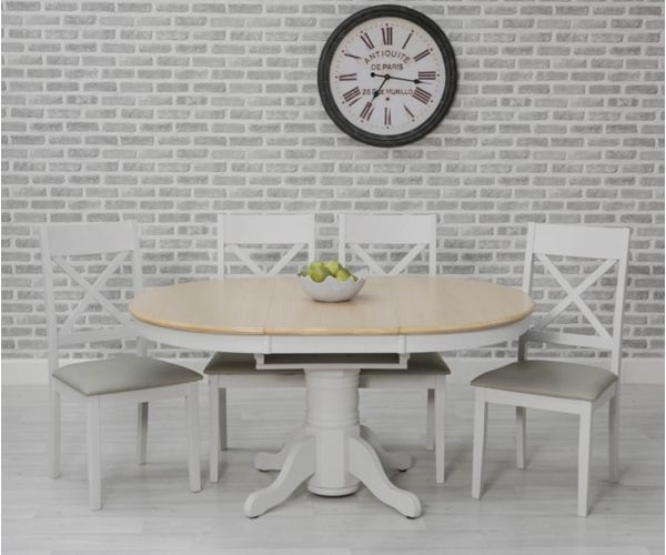 Furniture Line Ohio Painted Oval Extending Dining Set with 4 Chairs - 106.6cm-151.6cm