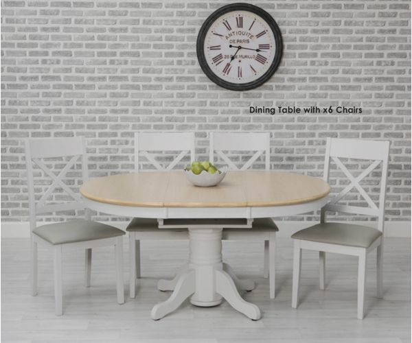 Furniture Line Ohio Painted Oval Extending Dining Set with 6 Chairs - 106.6cm-151.6cm