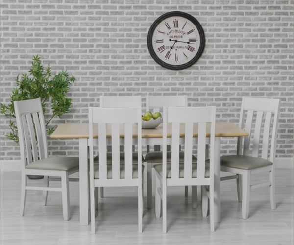 Furniture Line Ohio Painted Rectangular Extending Dining Set with 6 Chairs - 120cm-160cm