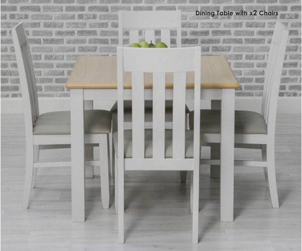Furniture Line Ohio Painted Square Dining Set with 2 Chairs - 80cm