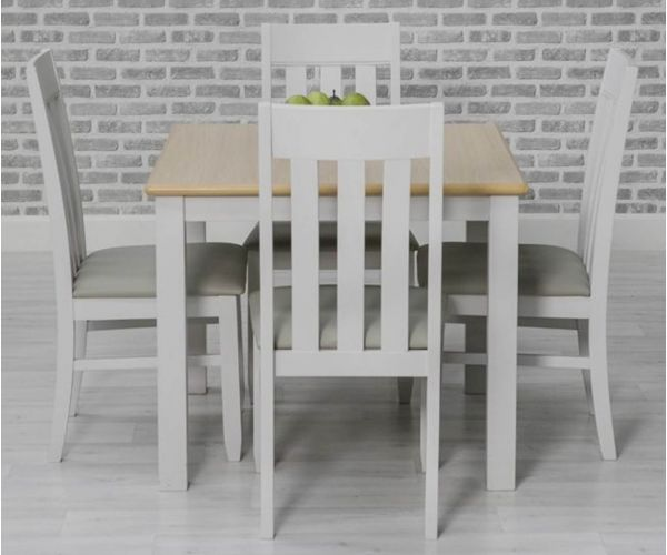 Furniture Line Ohio Painted Square Dining Set with 4 Chairs - 80cm
