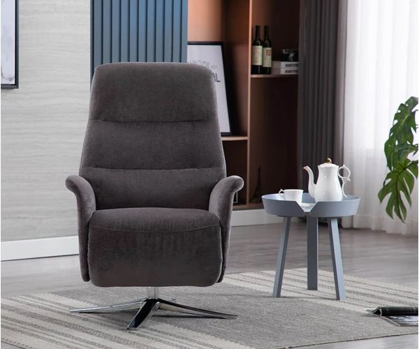 GFA Ontario Flint Fabric Swivel Recliner Chair with Footstool