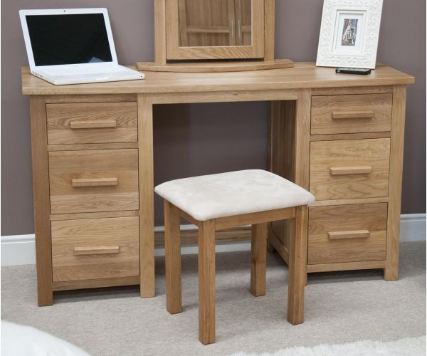 Homestyle GB Opus Oak Twin Pedestal Dressing Table and Stool