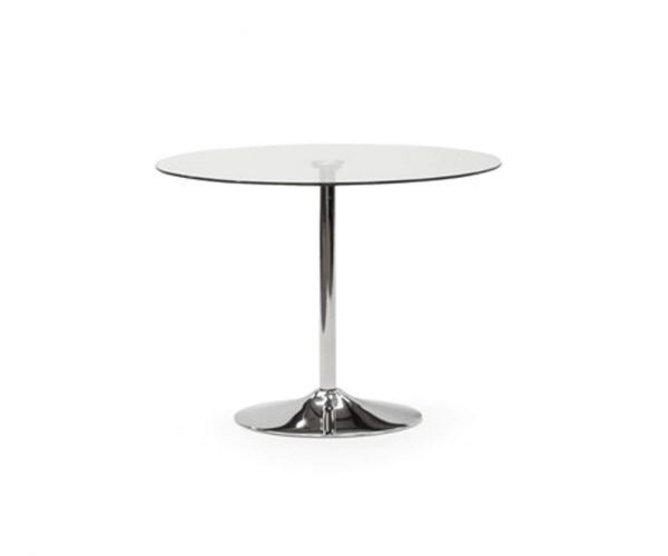 Vida Living Orbit Clear Glass 90cm Dining Table only