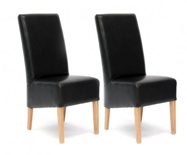 Homestyle GB Oslo Black Bycast Leather Dining Chair in Pair