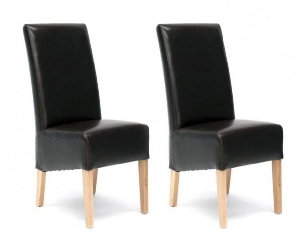 Homestyle GB Oslo Brown Bycast Leather Dining Chair in Pair