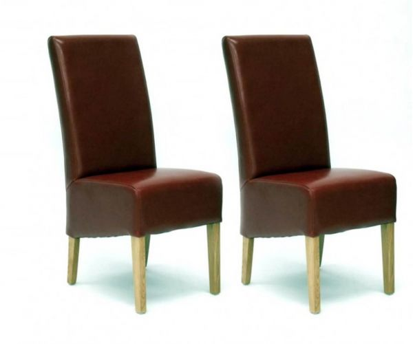 Homestyle GB Oslo Red Bycast Leather Dining Chair in Pair