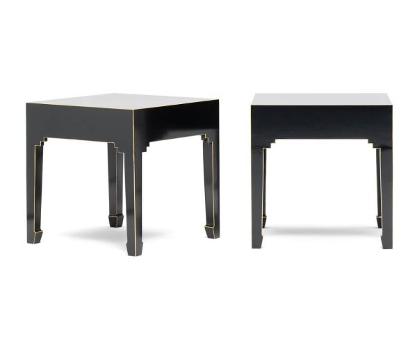 Baumhaus The Nine Schools Qing Black and Gilt Pair of Lamp Tables