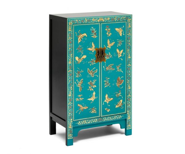 Baumhaus The Nine Schools Oriental Decorated Blue Medium Cabinet
