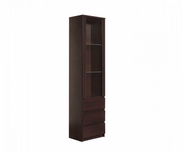 FTG Pello Tall Narrow 1 Door 3 Drawer Glazed Display Cabinet