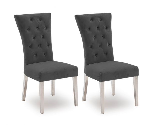 Vida Living Pembroke Charcoal with Stainless Steel Leg Dining Chair in Pair