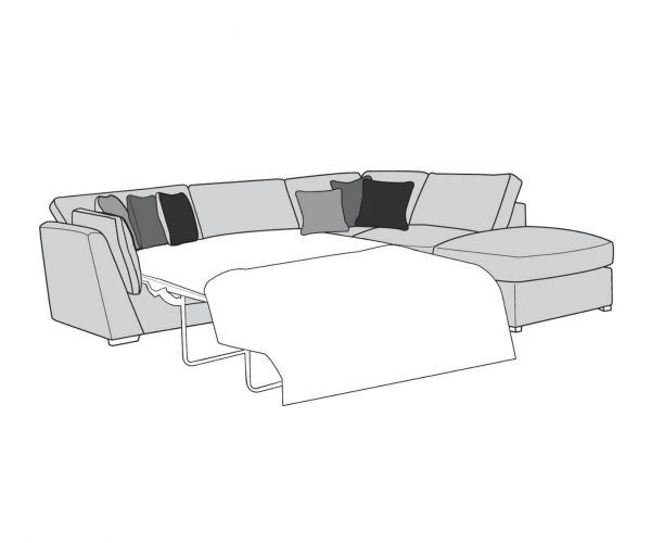Buoyant Upholstery Phoenix Fabric Corner Chaise with Sofa Bed (L2S, RFC, P)