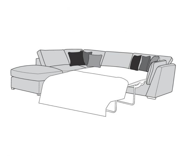 Buoyant Upholstery Phoenix Fabric Corner Chaise with Sofa Bed (R2S, LFC, P)