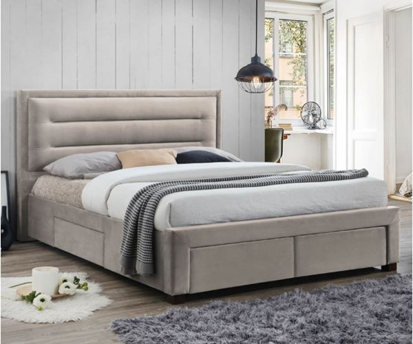 Furniture Link Pippa Champagne Fabric Storage Bed Frame