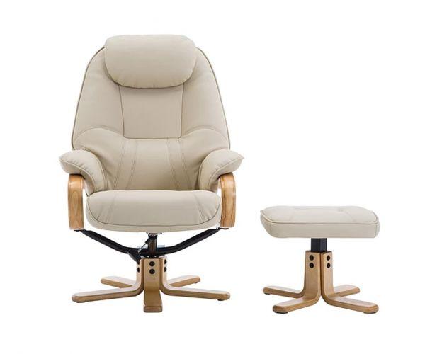 GFA Pisa Cream Plush Swivel Recliner Chair with Footstool