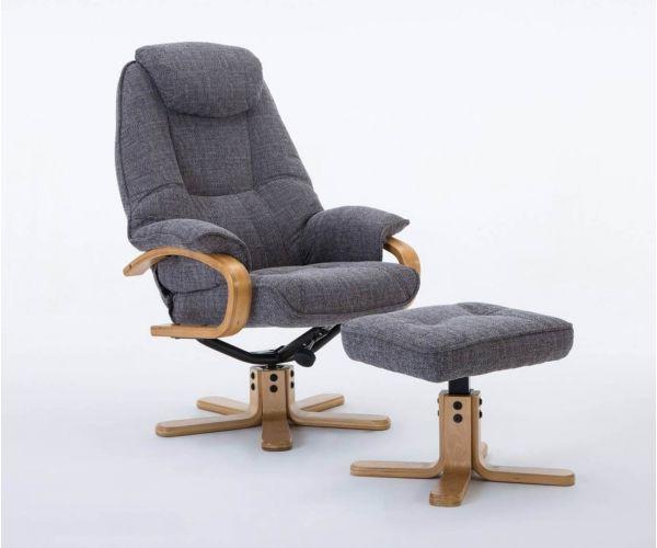 GFA Pisa Lisbon Grey Fabric Swivel Recliner Chair with Footstool