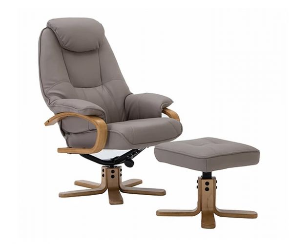 GFA Pisa Pebble Plush Swivel Recliner Chair with Footstool